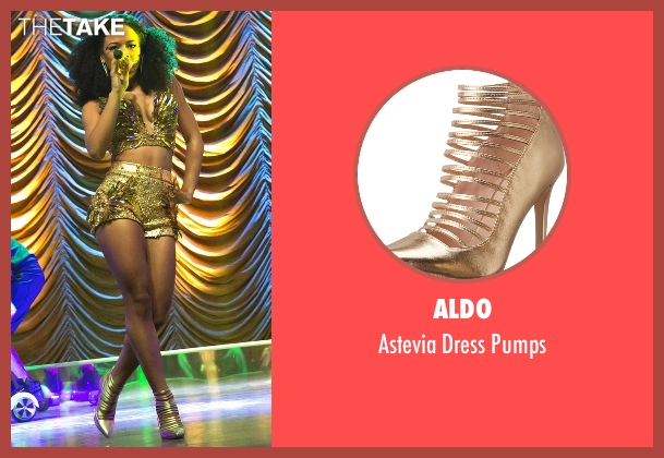 Aldo gold pumps from Empire seen with Tiana Brown (Serayah)