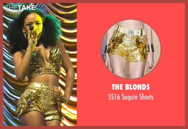 The Blonds gold shorts from Empire seen with Tiana Brown (Serayah)