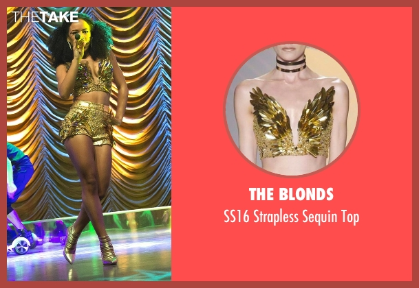 The Blonds gold top from Empire seen with Tiana Brown (Serayah)