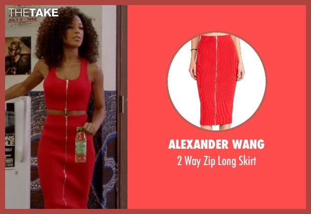 Alexander Wang red skirt from Empire seen with Tiana Brown (Serayah)