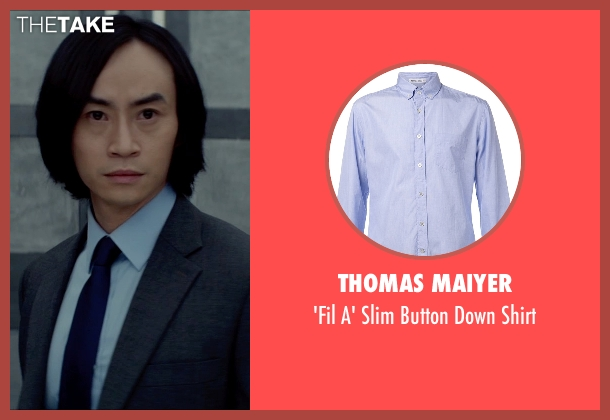 Thomas Maiyer blue shirt from Man of Tai Chi seen with Tiger Hu Chen (Tiger Chen Lin Hu)