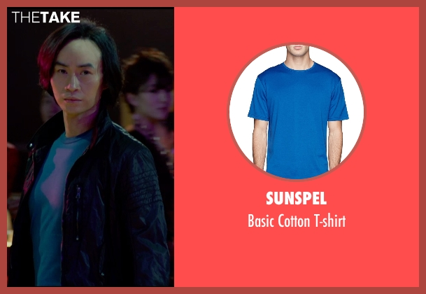 Sunspel blue t-shirt from Man of Tai Chi seen with Tiger Hu Chen (Tiger Chen Lin Hu)
