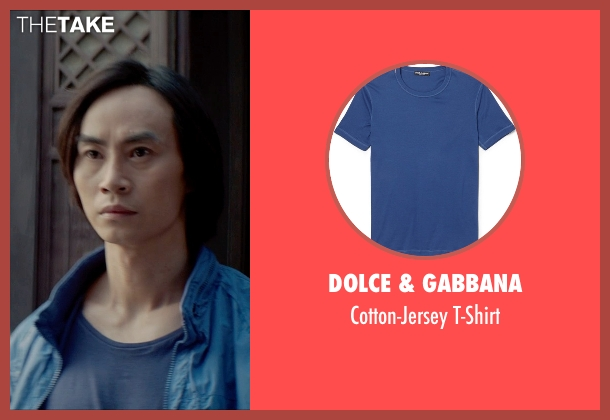 Dolce & Gabbana blue t-shirt from Man of Tai Chi seen with Tiger Hu Chen (Tiger Chen Lin Hu)