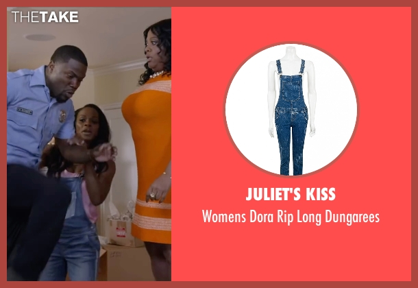 Juliet's Kiss blue dungarees from Ride Along 2 seen with Tika Sumpter (Angela Payton)