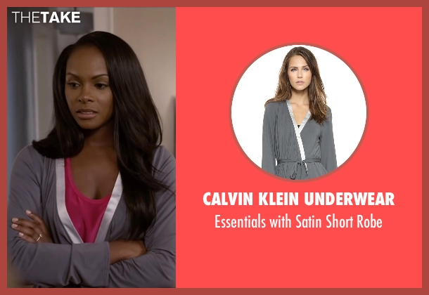 Calvin Klein Underwear gray robe from Ride Along 2 seen with Tika Sumpter (Angela Payton)