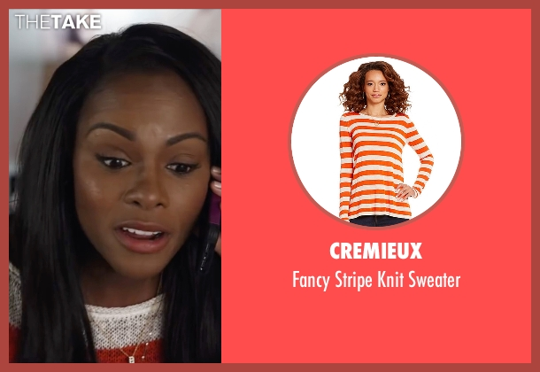 Cremieux orange sweater from Ride Along 2 seen with Tika Sumpter (Angela Payton)