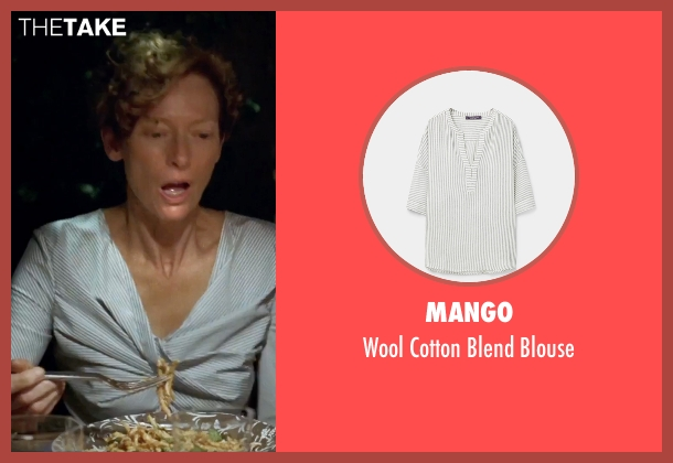 Mango white blouse from A Bigger Splash seen with Tilda Swinton (Marianne Lane)