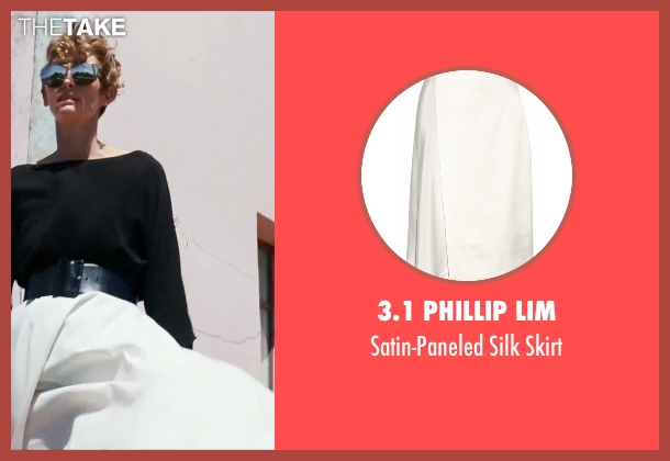 3.1 Phillip Lim white skirt from A Bigger Splash seen with Tilda Swinton (Marianne Lane)