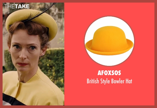 Afoxsos yellow hat from Hail, Caesar! seen with Tilda Swinton (Hedda Hopper)