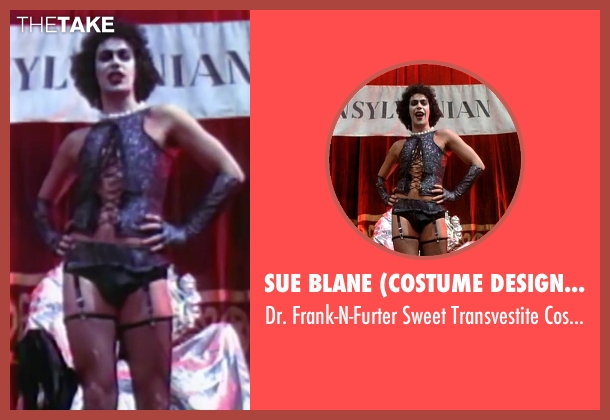Sue Blane (Costume Designer) black costume from The Rocky Horror Picture Show seen with Tim Curry (Dr. Frank-N-Furter)