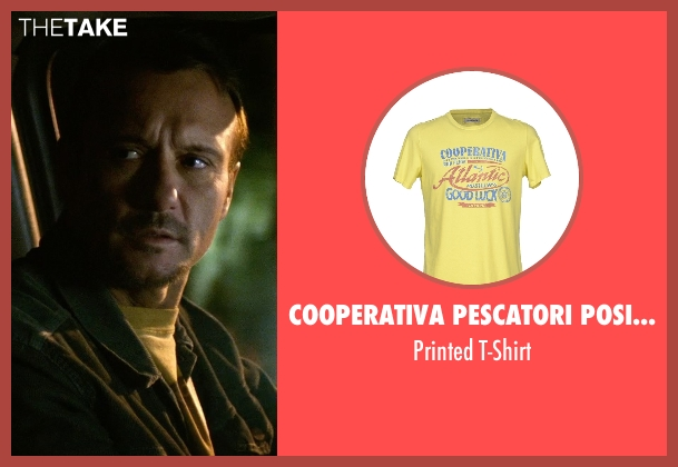 Cooperativa Pescatori Posillipo yellow t-shirt from Tomorrowland seen with Tim McGraw (Casey's tough-as-nails hothead father)