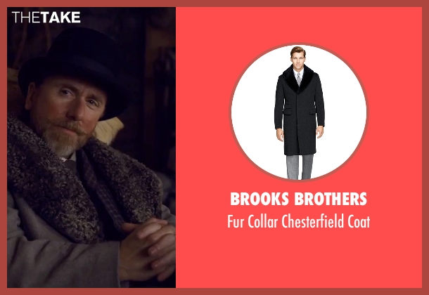 Brooks Brothers gray coat from The Hateful Eight seen with Tim Roth (Oswaldo Mobray)