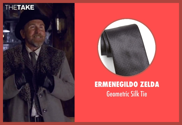 Ermenegildo Zelda gray tie from The Hateful Eight seen with Tim Roth (Oswaldo Mobray)