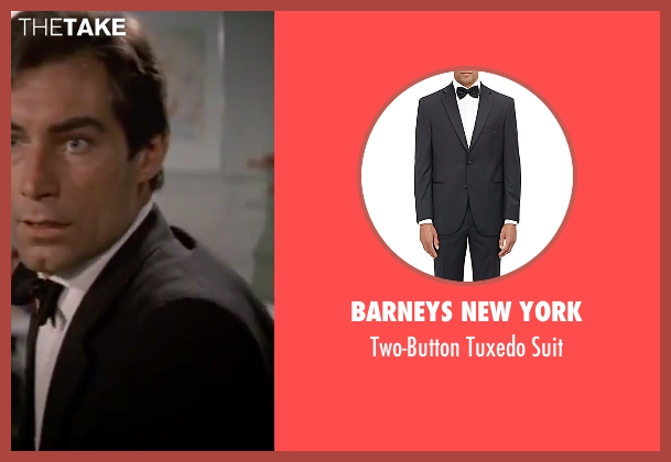 Barneys New York black suit from The Living Daylights seen with Timothy Dalton (James Bond)