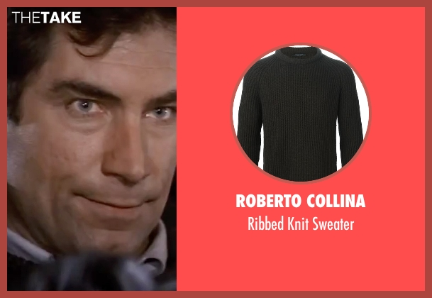 Roberto Collina black sweater from The Living Daylights seen with Timothy Dalton (James Bond)