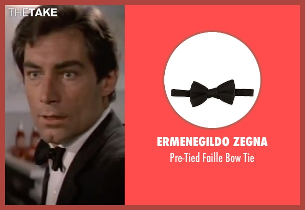 Ermenegildo Zegna black tie from The Living Daylights seen with Timothy Dalton (James Bond)