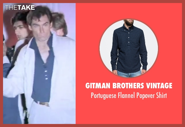 Gitman Brothers Vintage blue shirt from The Living Daylights seen with Timothy Dalton (James Bond)