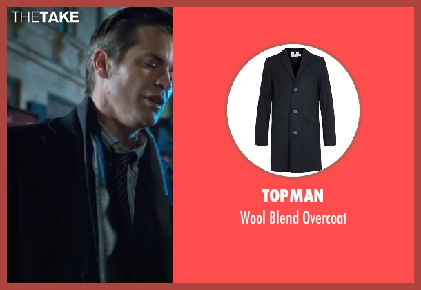 Topman blue overcoat from Snowden seen with Timothy Olyphant (Unknown Character)