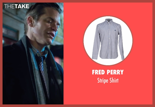 Fred Perry blue shirt from Snowden seen with Timothy Olyphant (Unknown Character)