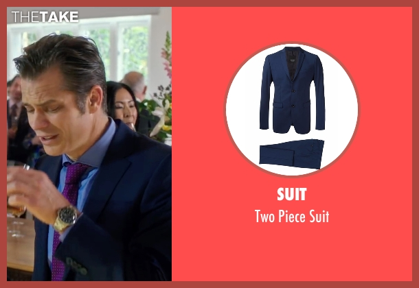 Suit blue suit from Snowden seen with Timothy Olyphant (Unknown Character)