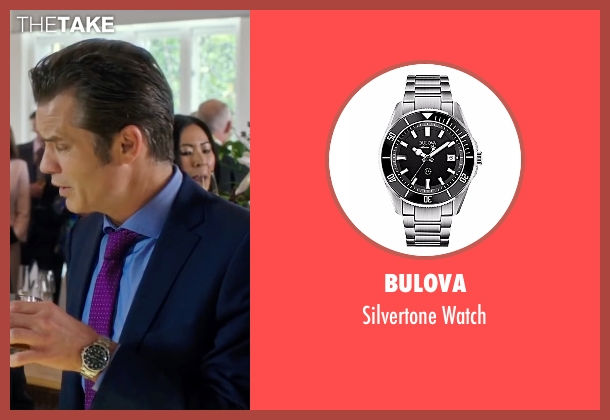 Bulova silver watch from Snowden seen with Timothy Olyphant (Unknown Character)