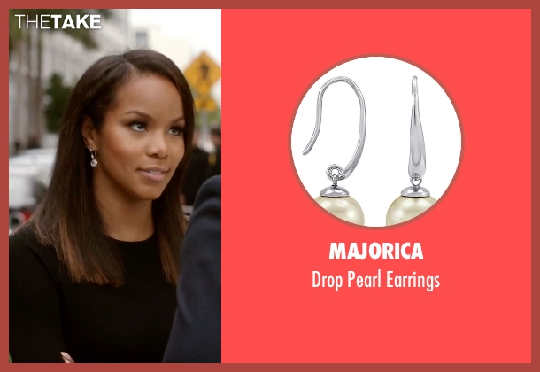 Majorica silver earrings from Ballers seen with Tina (LeToya Luckett)