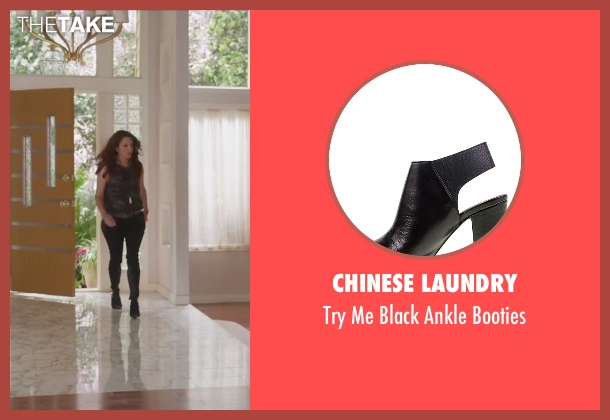 Chinese Laundry black booties from Sisters seen with Tina Fey (Katie Ellis)
