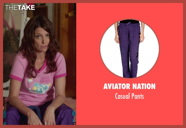 Aviator Nation purple pants from Sisters seen with Tina Fey (Katie Ellis)