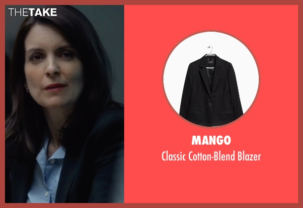 Mango black blazer from Whiskey Tango Foxtrot seen with Tina Fey (Kim Barker)