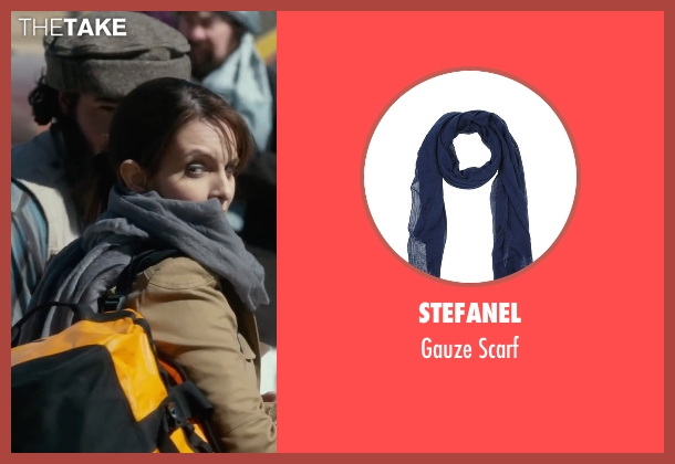 Stefanel blue scarf from Whiskey Tango Foxtrot seen with Tina Fey (Kim Barker)
