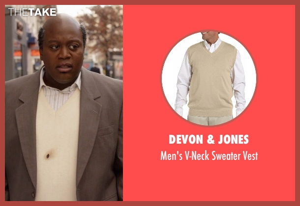 Devon & Jones beige vest from Unbreakable Kimmy Schmidt seen with Titus (Tituss Burgess)
