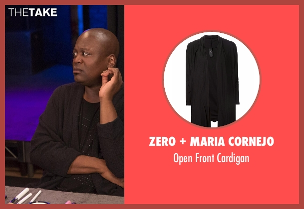 Zero + Maria Cornejo black cardigan from Unbreakable Kimmy Schmidt seen with Titus (Tituss Burgess)