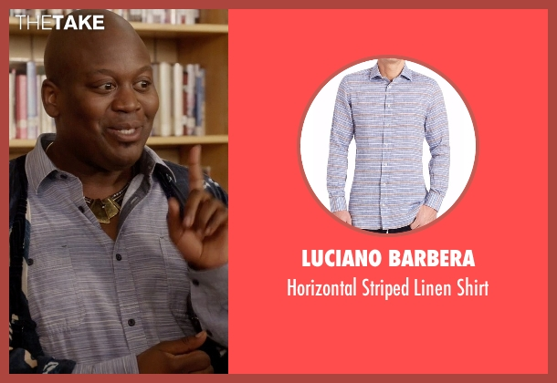 Luciano Barbera blue shirt from Unbreakable Kimmy Schmidt seen with Titus (Tituss Burgess)