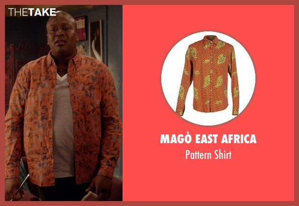 Magò East Africa orange shirt from Unbreakable Kimmy Schmidt seen with Titus (Tituss Burgess)