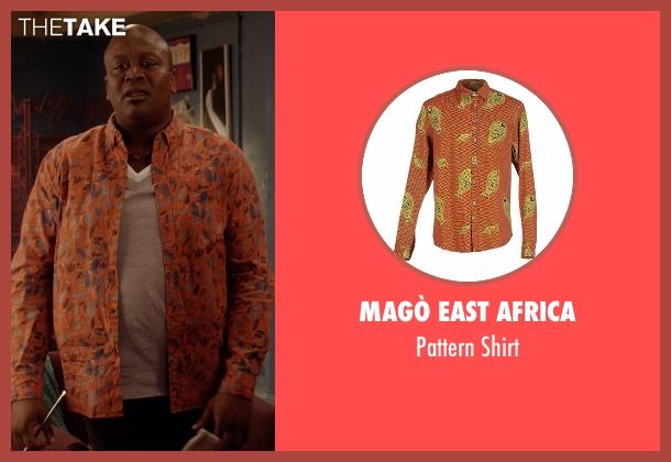Magò East Africa orange shirt from Unbreakable Kimmy Schmidt seen with Titus (Tituss Burgess)