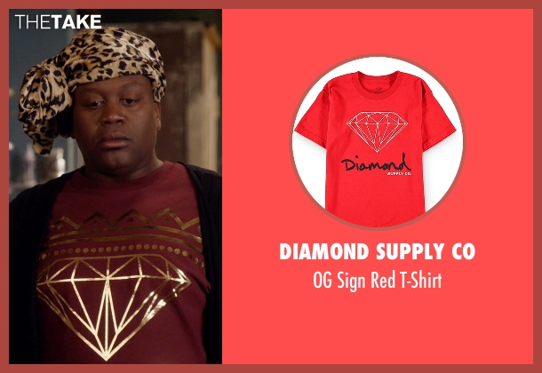 Diamond Supply Co red t-shirt from Unbreakable Kimmy Schmidt seen with Titus (Tituss Burgess)
