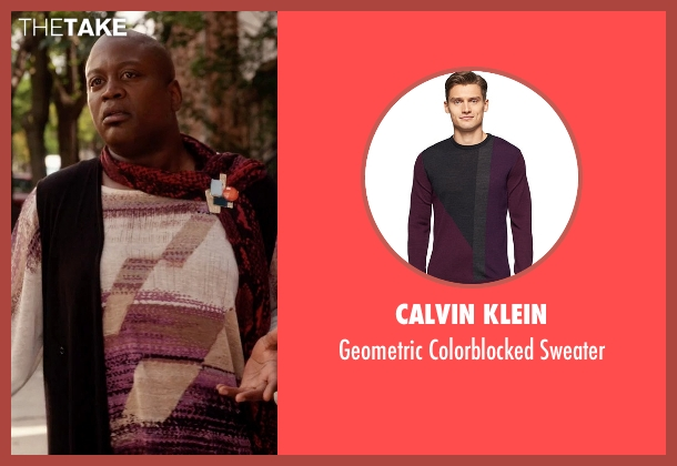 Calvin Klein sweater from Unbreakable Kimmy Schmidt seen with Titus (Tituss Burgess)
