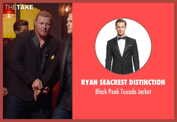 Ryan Seacrest Distinction black jacket from Pitch Perfect 2 seen with T.J. Lang (Football Player)