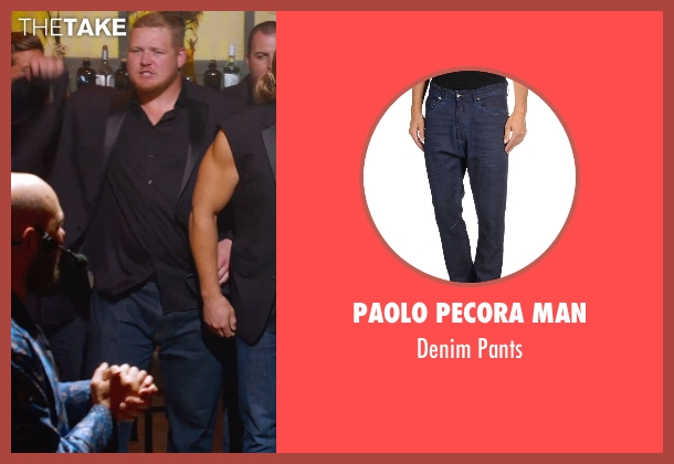 Paolo Pecora Man blue pants from Pitch Perfect 2 seen with T.J. Lang (Football Player)