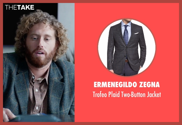 Ermenegildo Zegna gray jacket from Office Christmas Party seen with T.J. Miller (Clay)