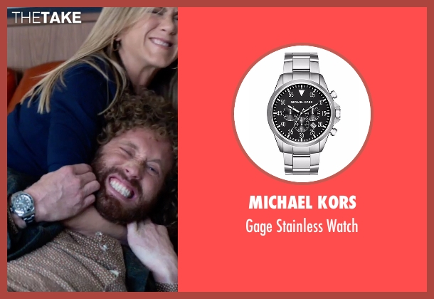 Michael Kors silver watch from Office Christmas Party seen with T.J. Miller (Clay)