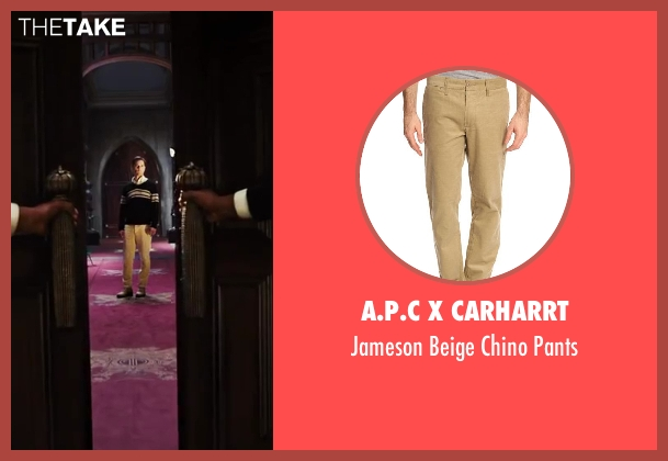 A.P.C x Carharrt beige pants from The Great Gatsby seen with Tobey Maguire (Nick Carraway)