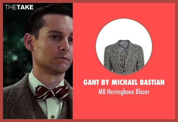Gant by Michael Bastian gray blazer from The Great Gatsby seen with Tobey Maguire (Nick Carraway)