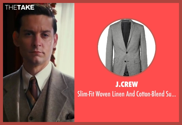 J.Crew gray jacket from The Great Gatsby seen with Tobey Maguire (Nick Carraway)