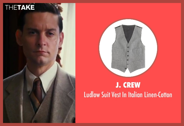 J. Crew gray linen-cotton from The Great Gatsby seen with Tobey Maguire (Nick Carraway)