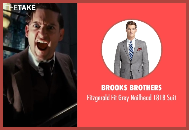 Brooks Brothers gray suit from The Great Gatsby seen with Tobey Maguire (Nick Carraway)