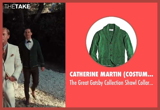 Catherine Martin (Costume Designer) and Brooks Brothers (Tailor) green cardigan from The Great Gatsby seen with Tobey Maguire (Nick Carraway)