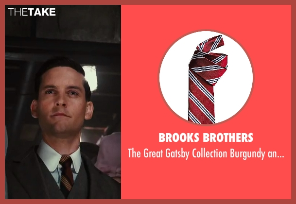 Brooks Brothers red tie from The Great Gatsby seen with Tobey Maguire (Nick Carraway)