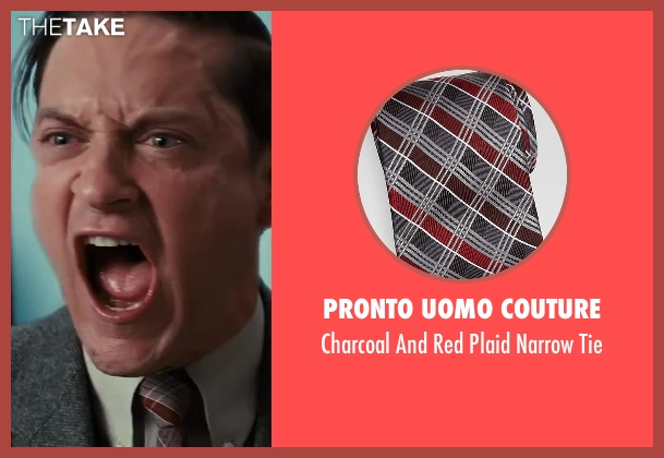 Pronto Uomo Couture red tie from The Great Gatsby seen with Tobey Maguire (Nick Carraway)