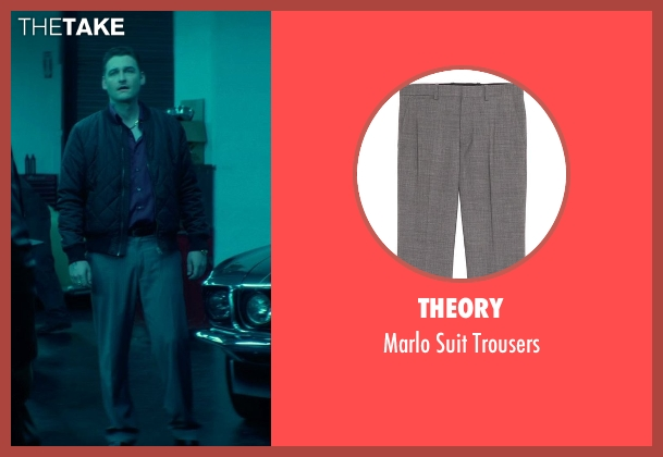 Theory gray trousers from John Wick seen with Toby Leonard Moore (Victor)